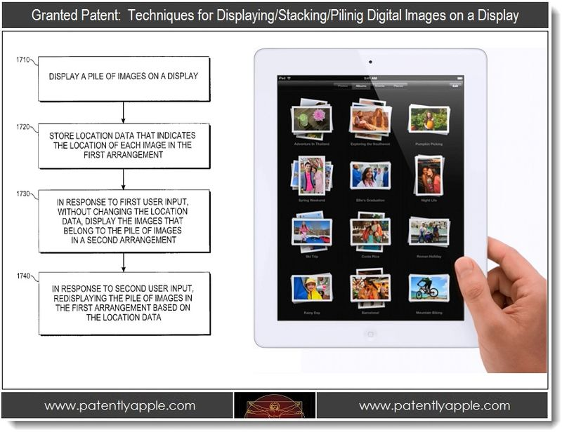 3. Techniques for displaying stacking piling digital images on a display