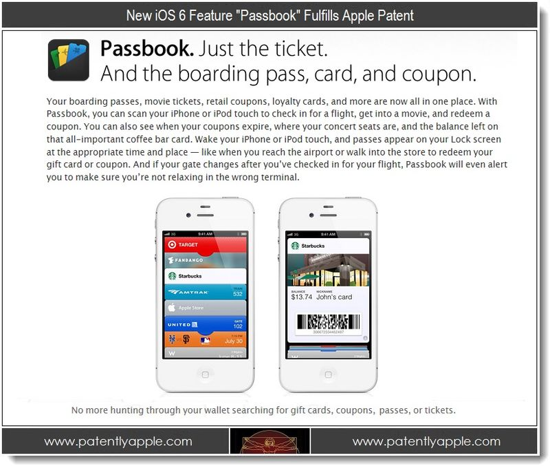 3. New iOS feature Passbook fulfills Apple Patent