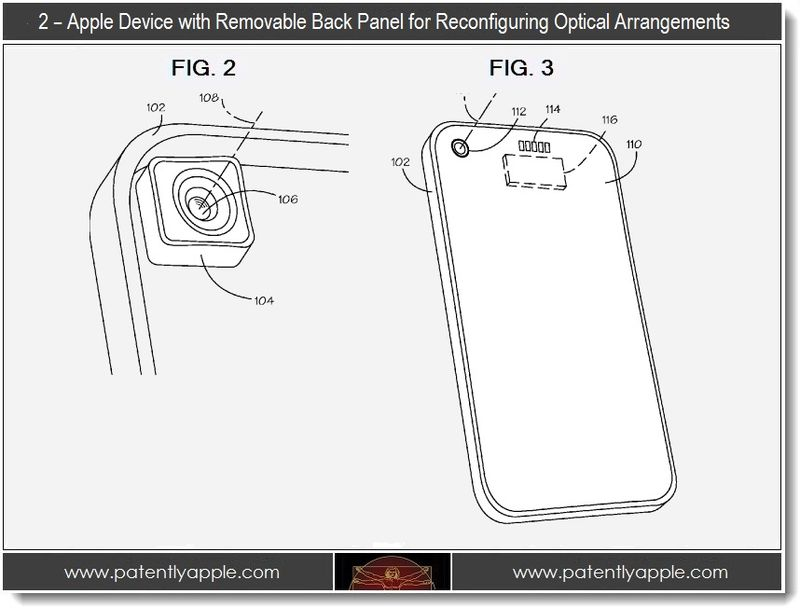 3. 2 -  apple device with removable back panel for reconfiguring optical arrangements