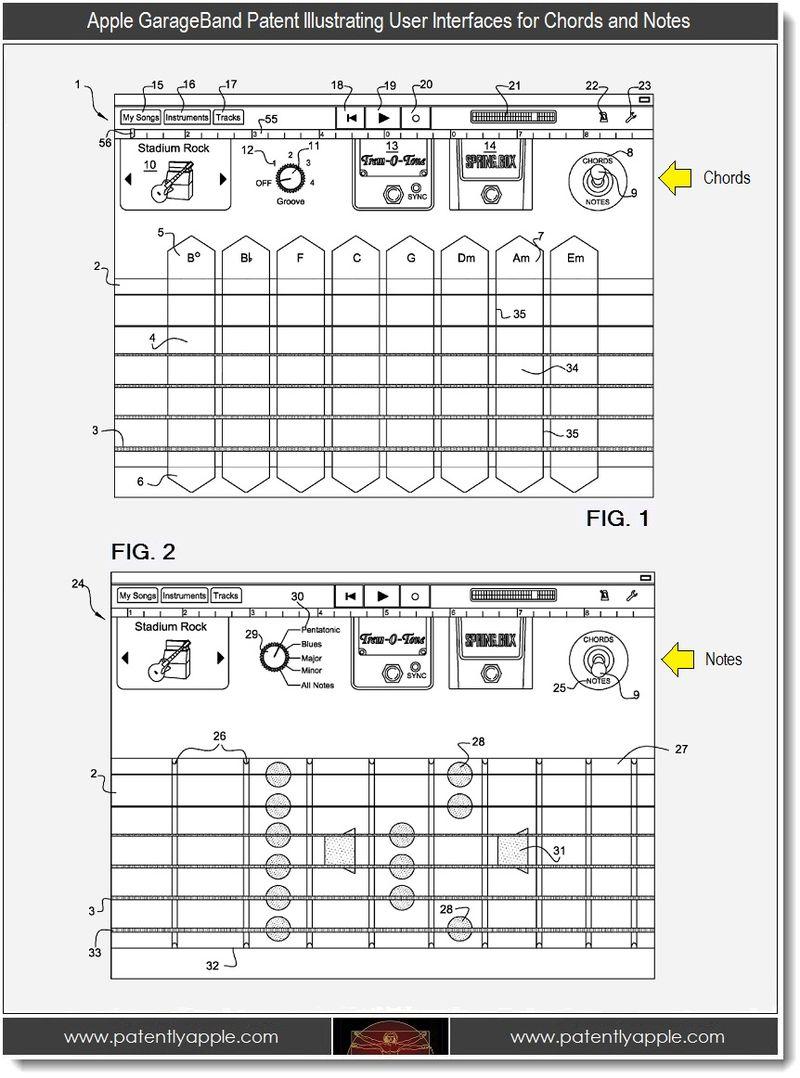 2. Apple GarageBand UI's for Chords & Notes