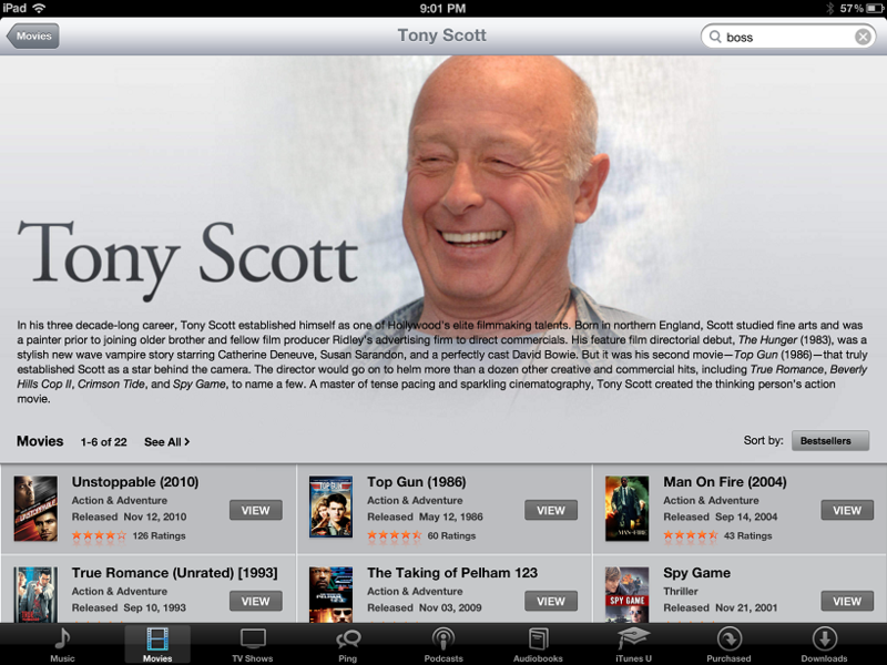 2. iTunes promoting Tony Scott films so shortly after his tragic death