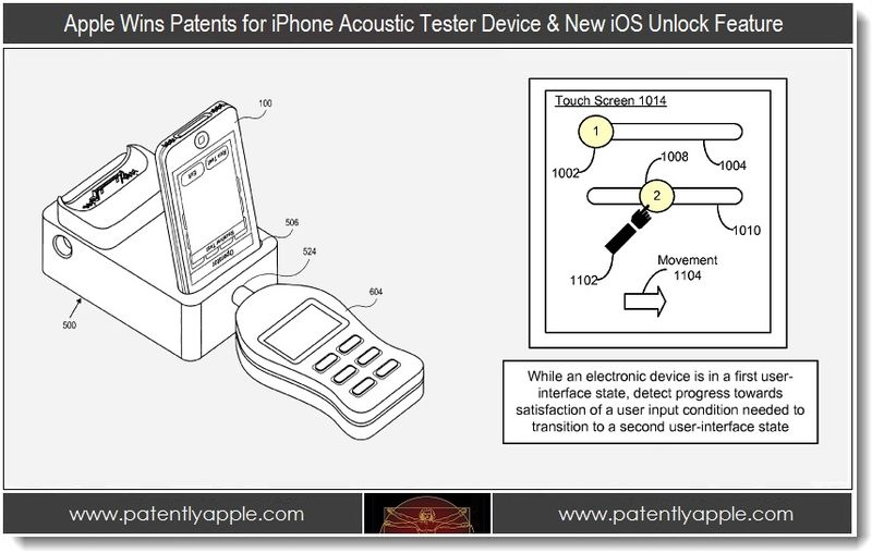 1. Apple wins patents for iphone acoustic tester device & new iOS Unlock Feature