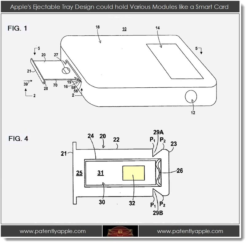 2. Apple's ejectable tray design could hold various modules like a Smart Card