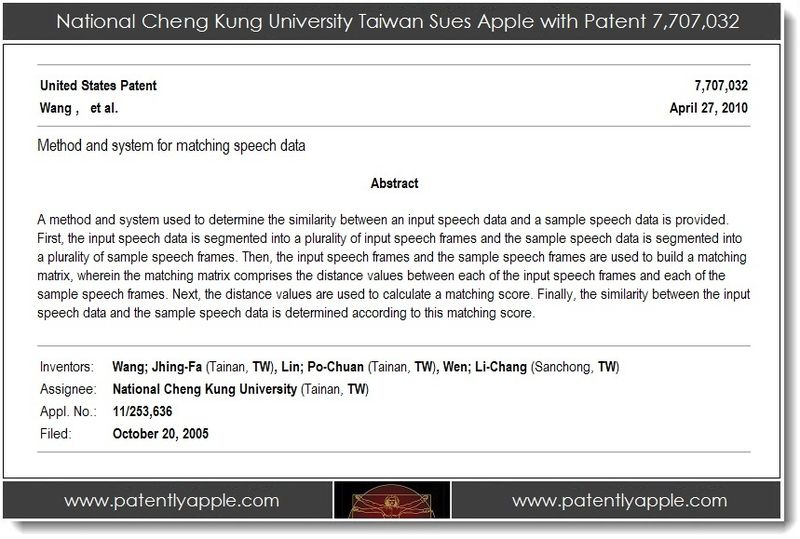 2. National Cheung Kung University Taiwan Sues Apple with Patent 7,707,032
