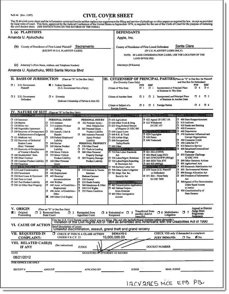 2. Civil Cover Sheet