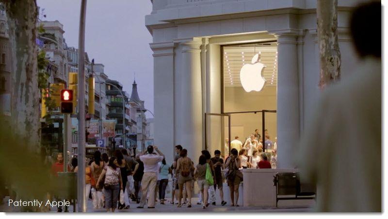 7. Barcelona Apple Store at dusk