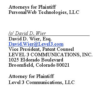 Level 3 Communications VP Patent Counsel noted on the formal complant