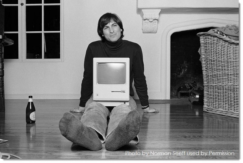 2A - Steve Jobs with first Macintosh, Photo by Norman Seeff