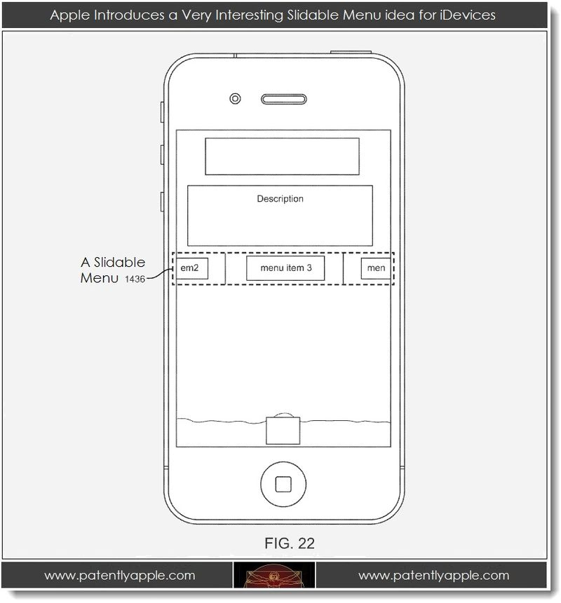 Extra - Apple patent application concept of a slidable menu