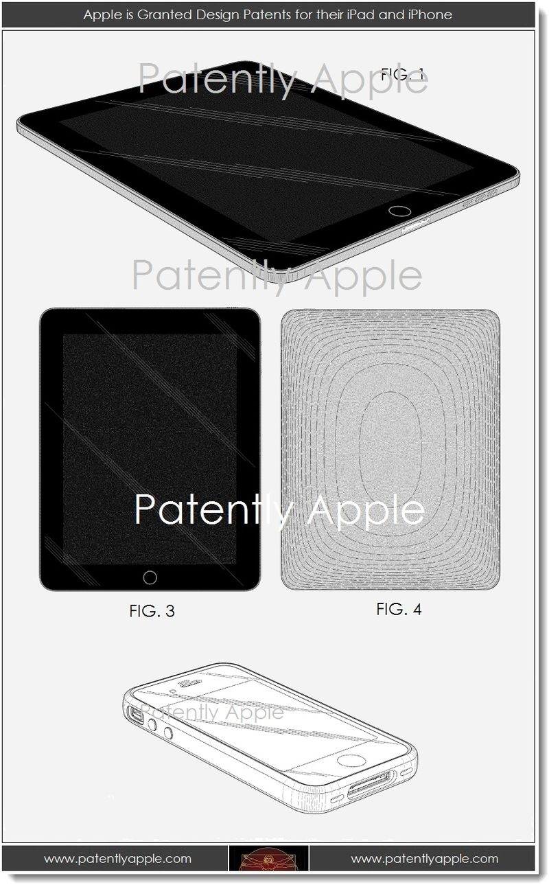 5. Apple is granted design patents for their iPad and iPhone