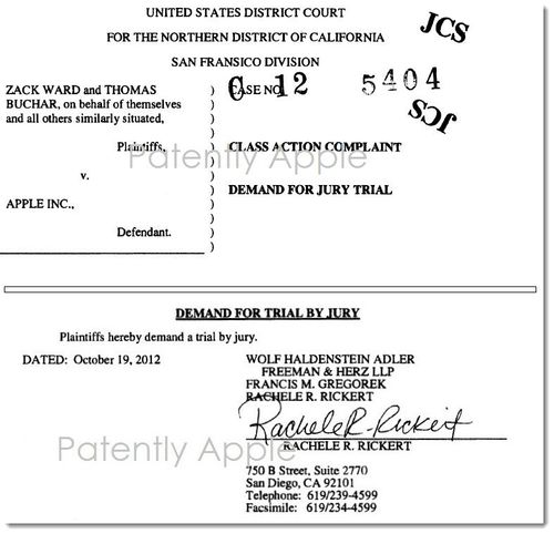 2. AA - CLASS ACTION COMPLAINT AGAINST APPLE DATED OCT 19,2012
