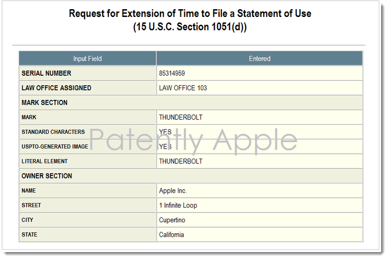 4. Apple still in pursuit of Thunderbolt Trademark