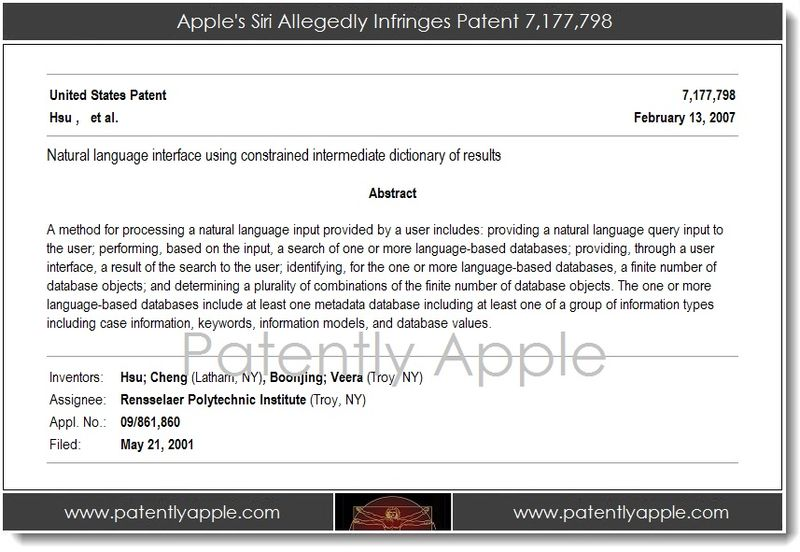 2. Apple's Siri Allegedly Infringes Patent 7,177,798
