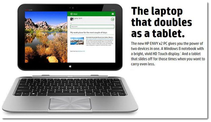 5. HP Envy X2, 2013 Hybrid Notebook