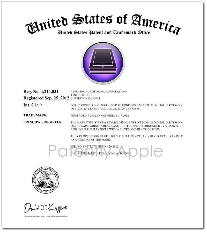 2.1 Apple Configurator Reg TM delayed. Dated Sept 25, 2012, Published November 5, 2012