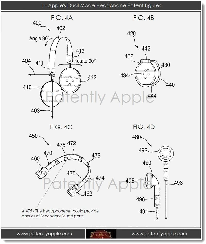 2. 1 - Apple's Dual Mode Headphone Patent Figures