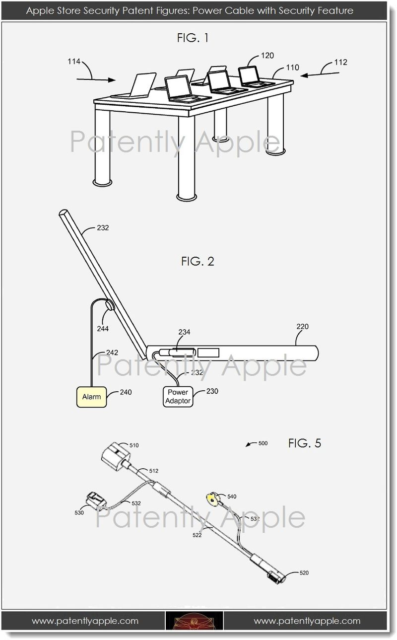 3. Apple Store Security Patent Figures - Power Cable with Security Feature