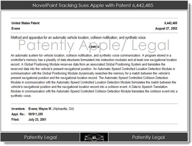 2.1 NovelPoint Tracking Sues Apple with Patent 6,442,485