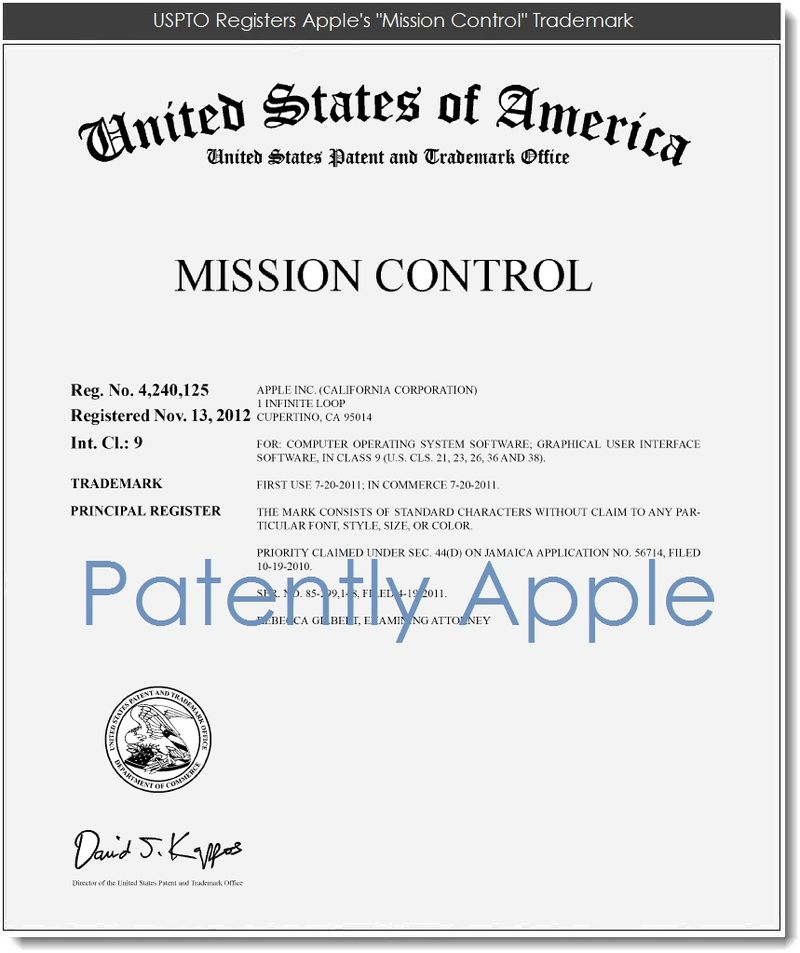 2. USPTO Registers Apple's Mission Control Trademark