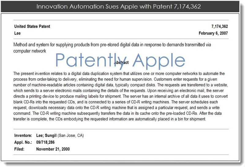 2. Innovation Automation Sues Apple with Patent 7,174,362