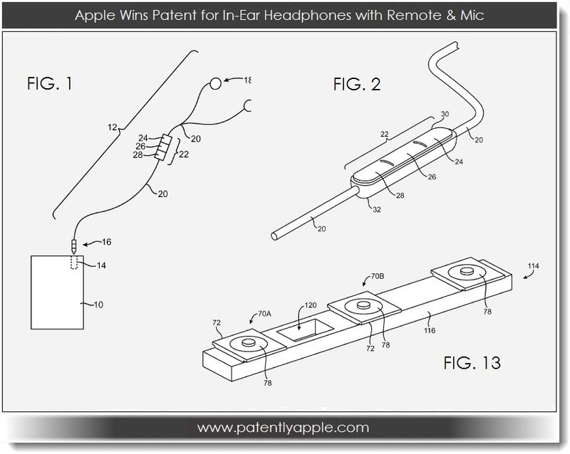 4. Apple wins patent for in-ear headphones with remote & mic