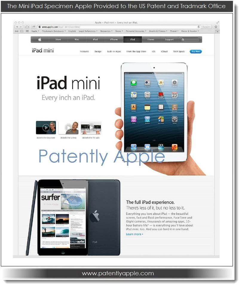 2. Apple's iPad mini Specimen for USPTO