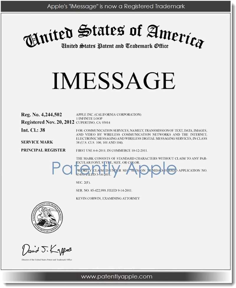 2. Apple's iMessage is now a registered trademark