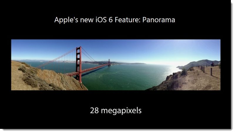 2. the iPhone 5's Panorama app, 28 megapixels