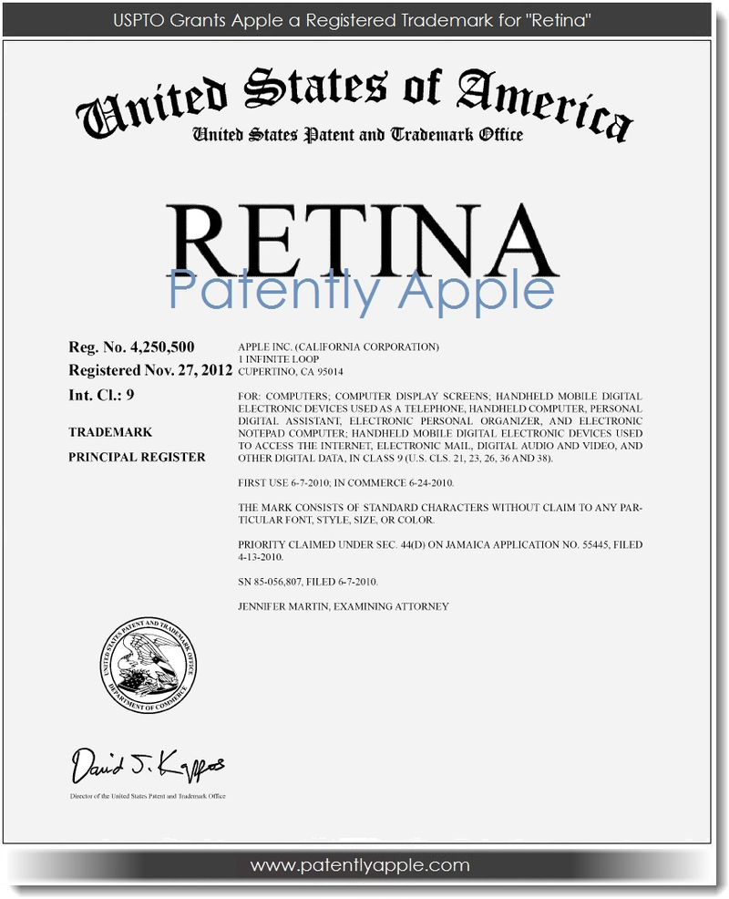 2. UPSTO - Retina now a Registered TM, Apple