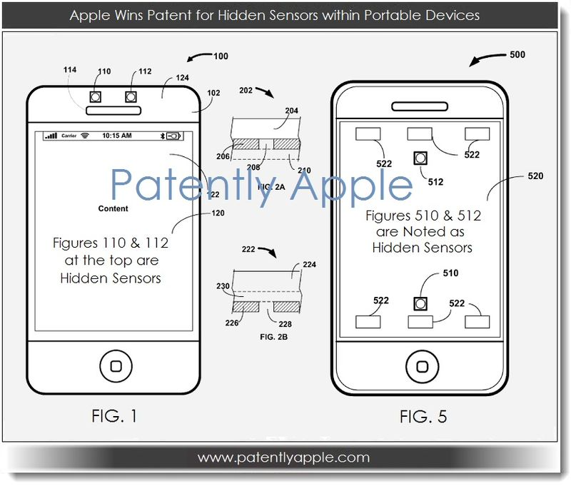 2. Apple Wins Patent for Hidden Sensors within Portable Devices