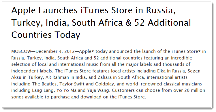 1.1 Apple Launches iTunes in Russia, Turkey, India, South Africa & 52 Additional Countries