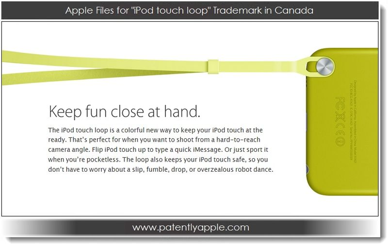 1. Apple Files for iPod touch loop TM in Canada
