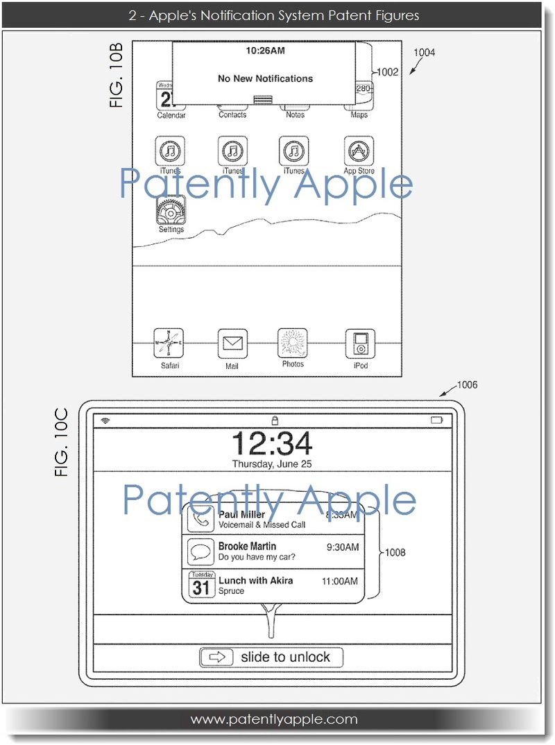 3. Two - Apple's notification system patent figures