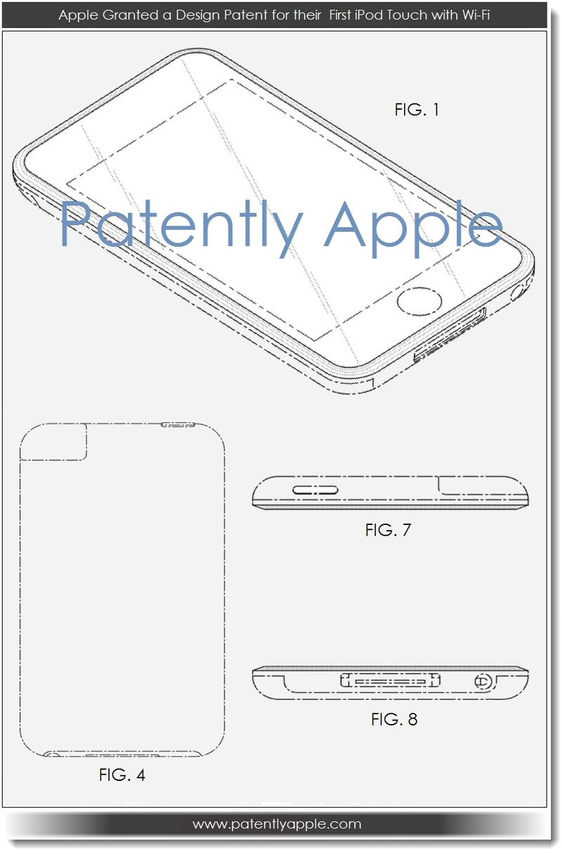 2. Apple granted design Patent for thier first iPod Touch with Wi-Fi