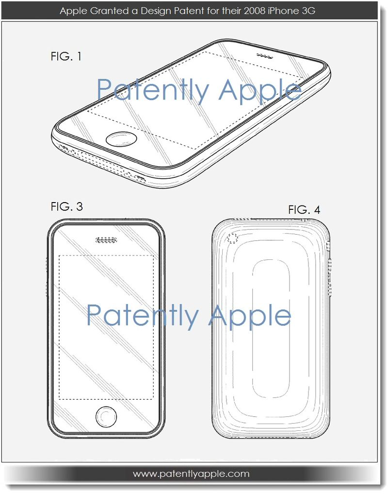 3. Apple Granted a design patent for their 2008 iPhone 3G