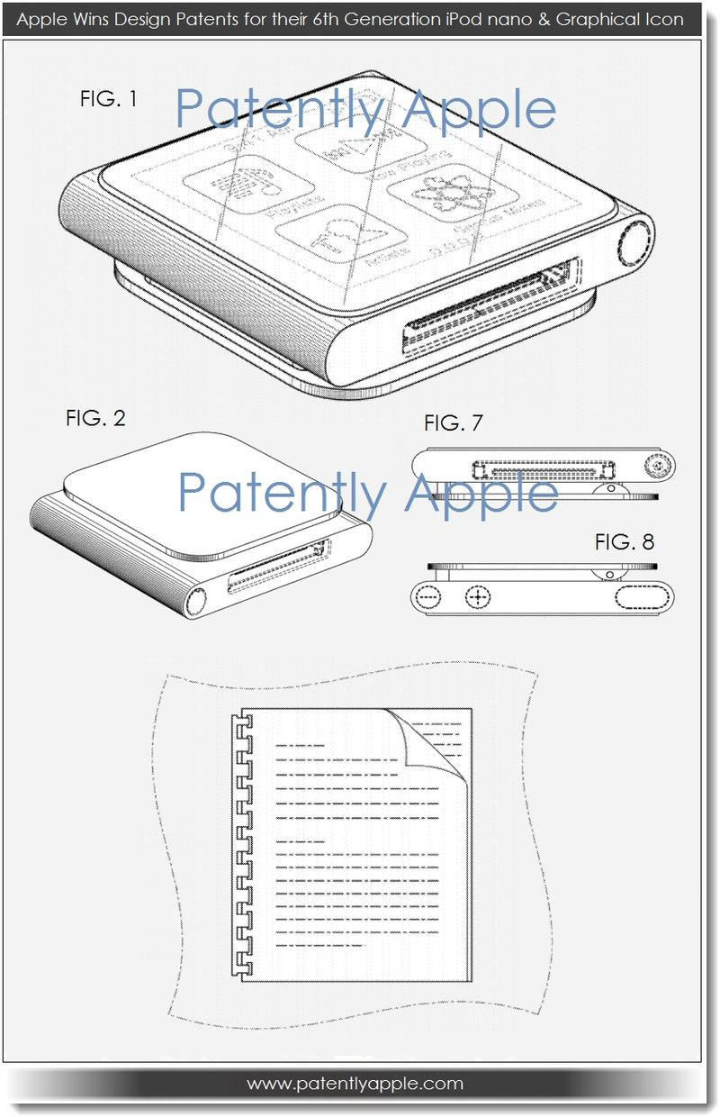 4. Apple wins design patents for iPod nano 6th-gen + graphical icon