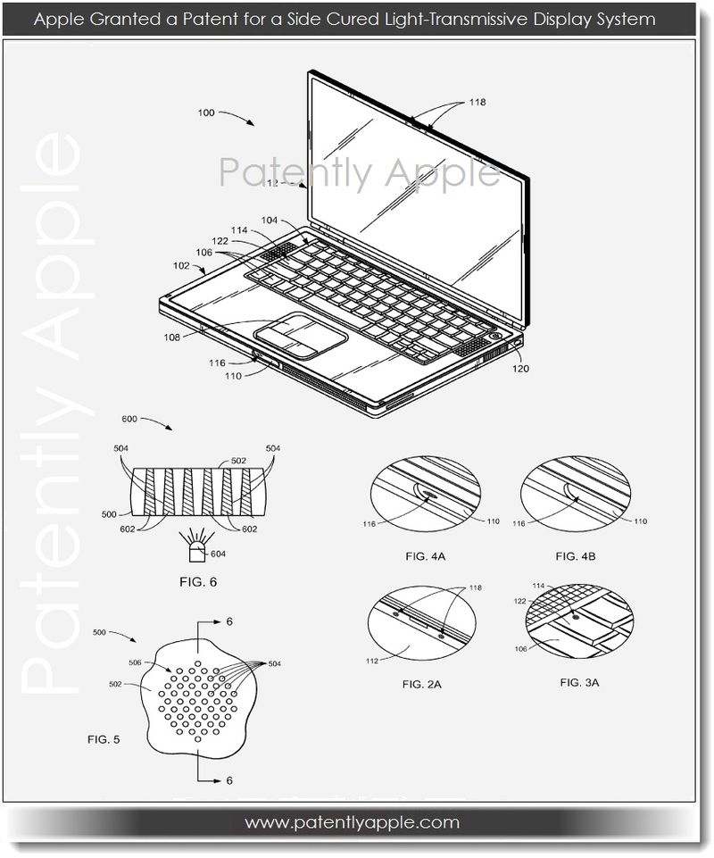 3. Apple granted a patent for a side cured light-transmissive display system