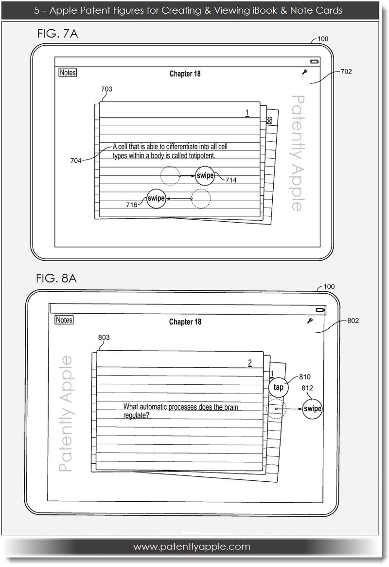 6. Apple, Patent FIGS for Creating, Viewing iBook & Note Cards