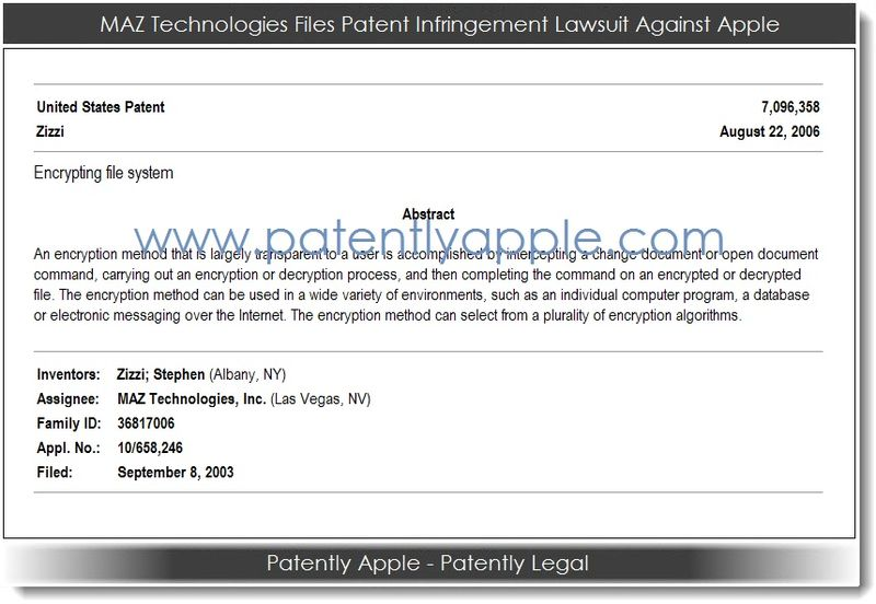 2. Maz Technologies Sues Apple with this 2006 patent