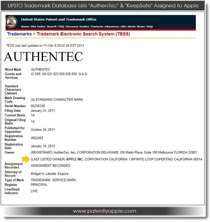 2. UPSTO Database Report shows Authentec assigned to Apple Inc Mar 08, 2013