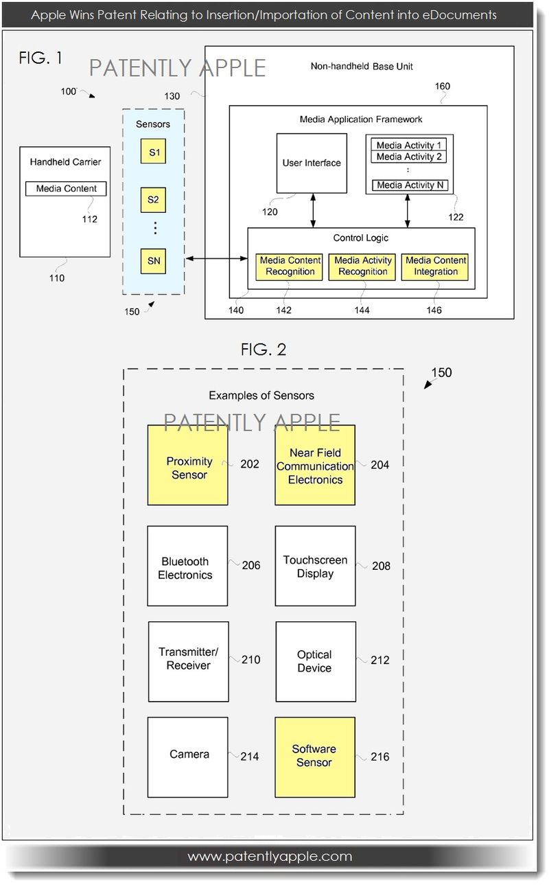 2. Apple patent - insertion-importation of content into edocs
