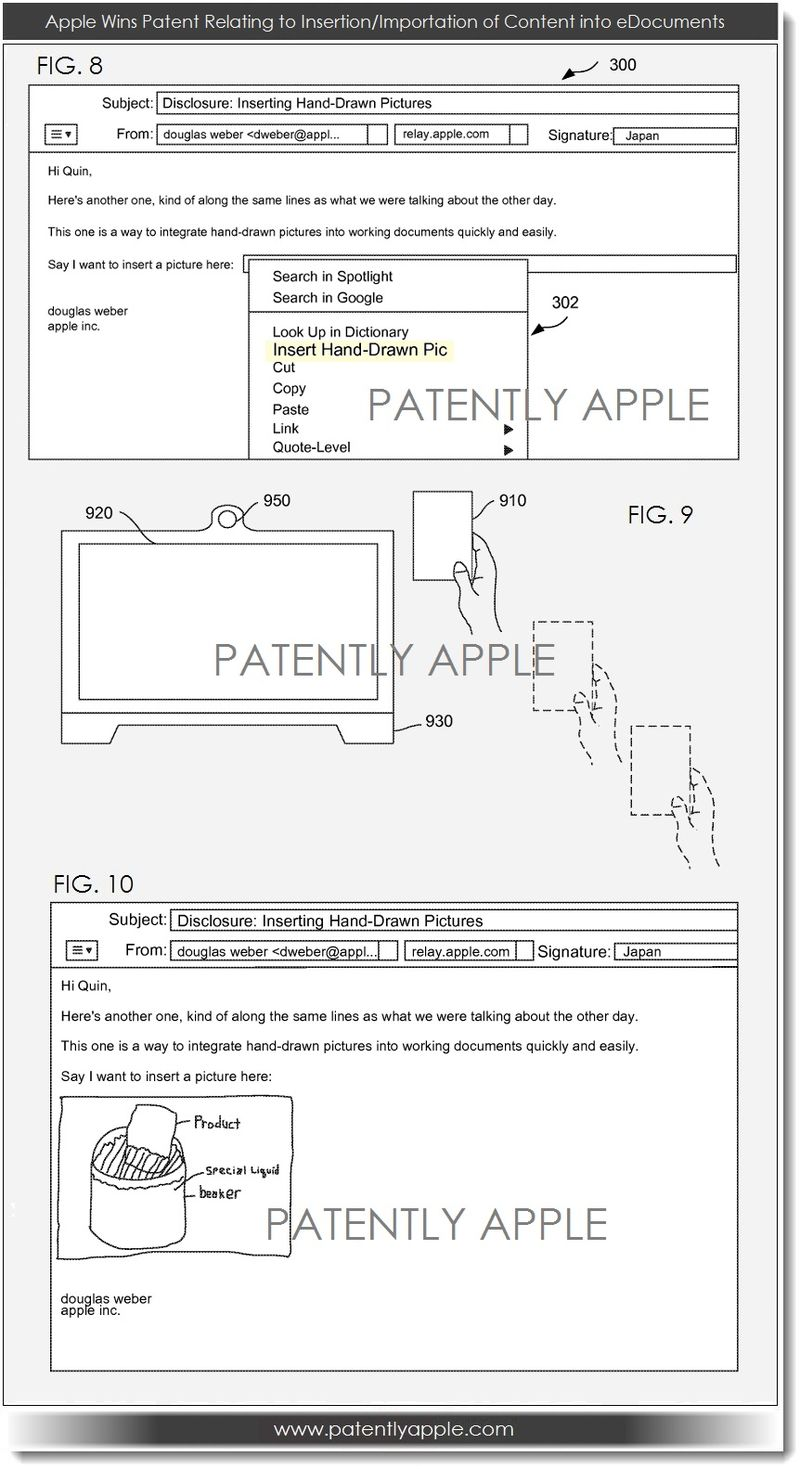 3a. Apple patent, insertion importatation of content into eDocs FIGS 8,9,10