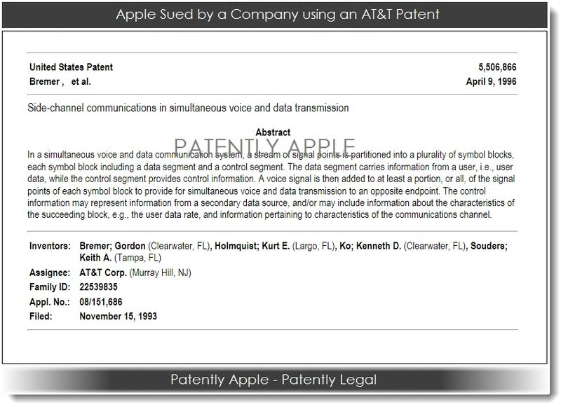2. Apple sued by a company using an AT&T Patent
