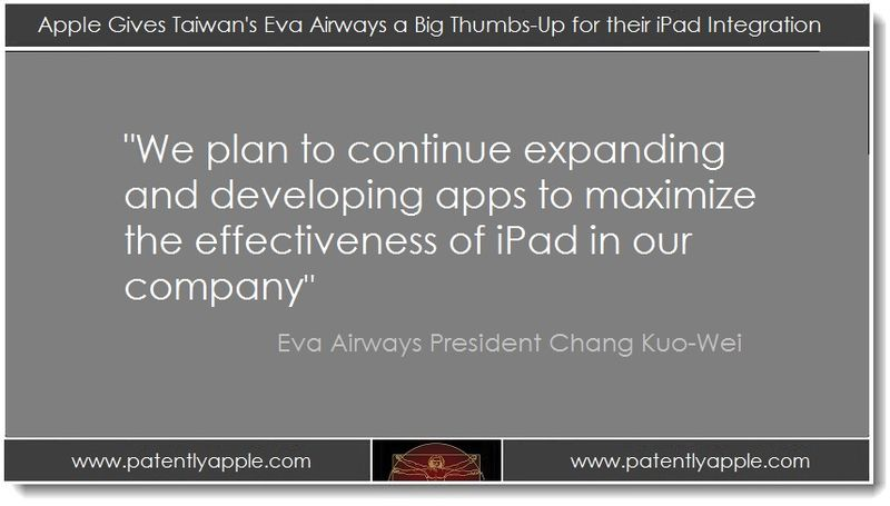 1. Apple gives Taiwan's EVA a big thumbs up for iPad integration