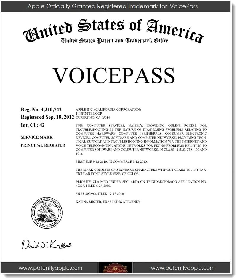 6. Apple Officially Granted TM for VoicePass