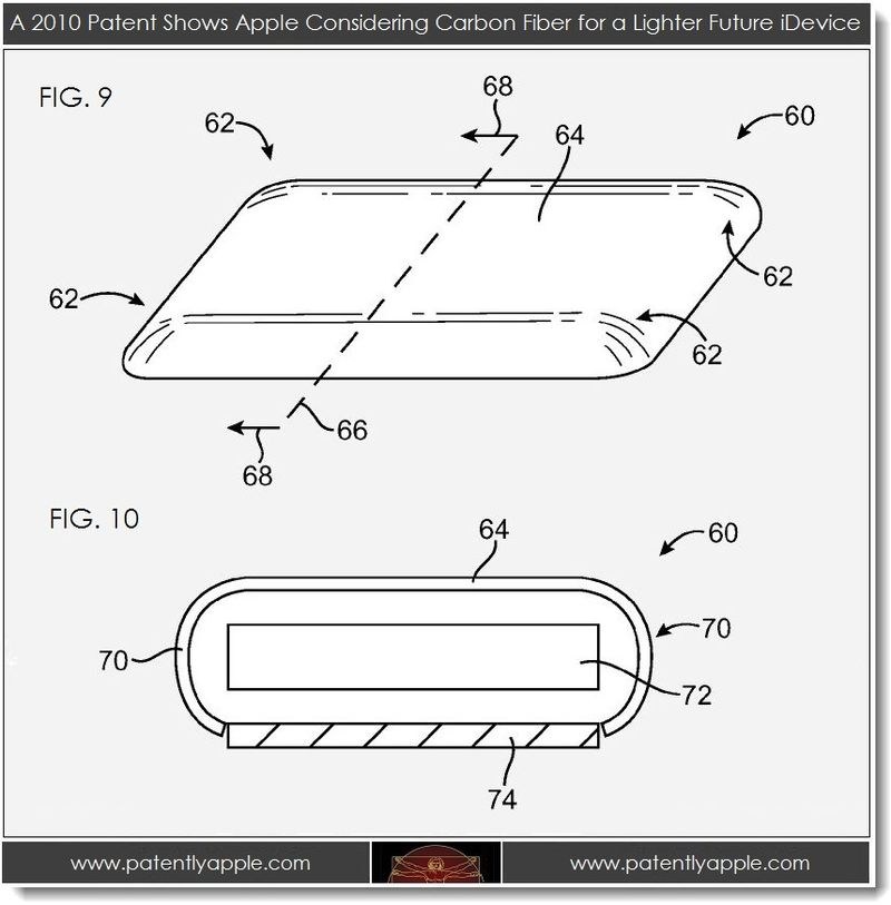 2. 2010 Apple patent figure re lighter carbon fiber iDevice