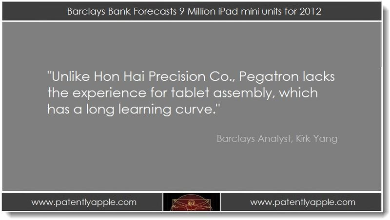 1. Barclays Bank Forecasts 9 milion iPad mini units for 2012