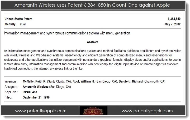 2. Ameranth Wireless uses patent 8384850 in count one against Apple
