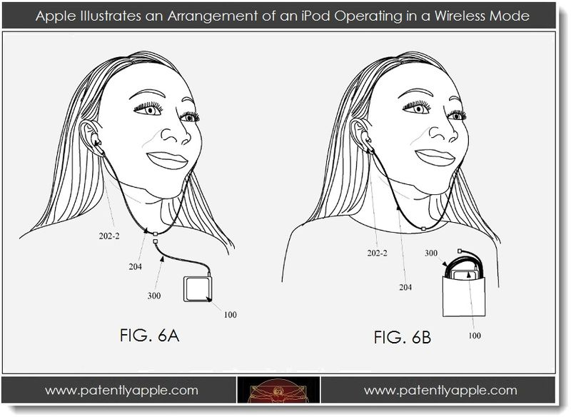 3. Apple illustrates an arrangement of an iPod operating in a wireless mode