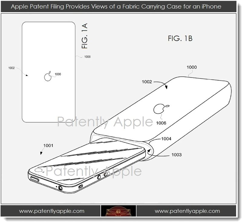 2A. Apple patent - views of a fabric carrying case for iPhone